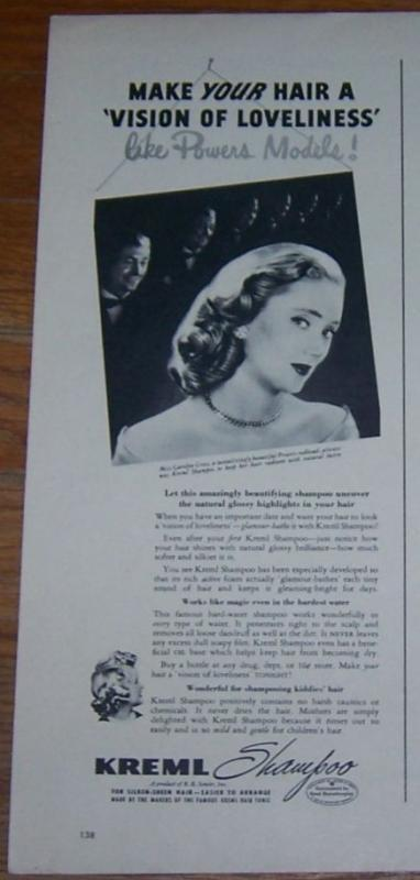 Image for 1947 MISS CAROLYN CROSS KREML SHAMPOO MAGAZINE ADVERTISMENT