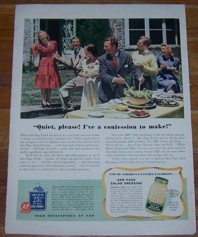 1941 ANN PAGE SALAD DRESSING LIFE MAGAZINE COLOR ADVERTISEMENT, Advertisement