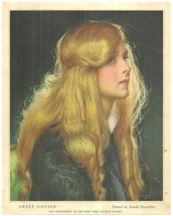 Image for VINTAGE PICTURE SWEET SIXTEEN, PAINTED BY ARNOLD MOUNTFORT Art Supplement of the New York Sunday World