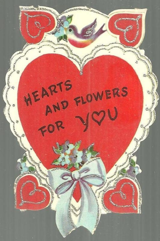 VINTAGE VALENTINE WITH BIRDS AND HEARTS TRIMMED IN SILVER, Valentine
