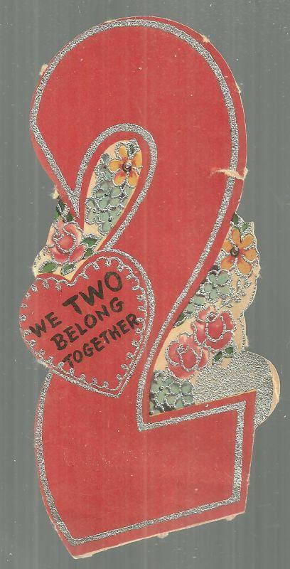 VINTAGE NUMBER TWO VALENTINE CARD WITH SILVER GLITTER, Valentine