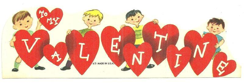 VINTAGE VALENTINE CARD WITH BOYS HOLDING HEARTS WITH LETTERS, Valentine