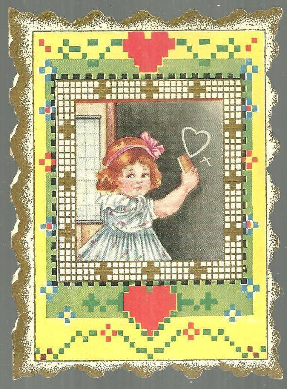 Image for VICTORIAN VALENTINE GREETING WITH SCHOOL GIRL