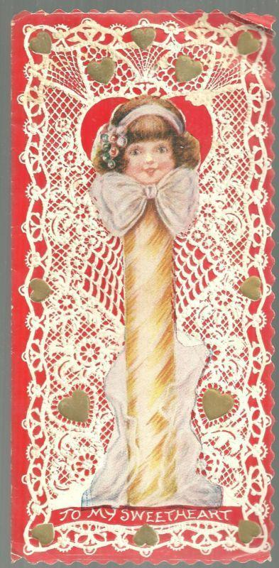 VINTAGE VALENTINE CARD WITH GIRL AS STICK OF CANDY, Valentine