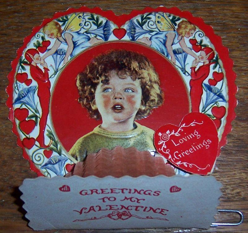 VICTORIAN FOLD OUT VALENTINE WITH LITTLE BOY, Valentine
