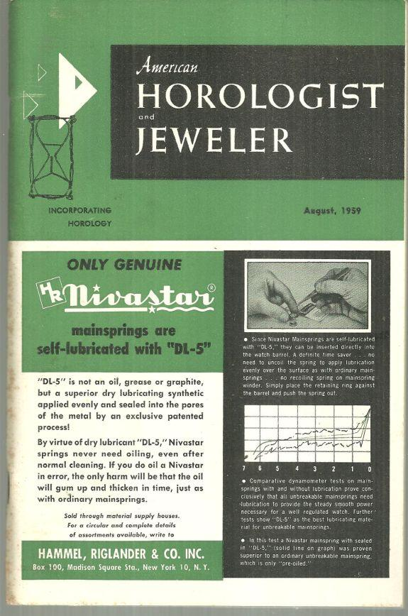 AMERICAN HOROLOGIST AND JEWELER MAGAZINE AUGUST 1959, American Horologist