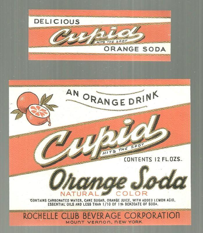 CUPID ORANGE SODA TWO PIECE LABEL SET, Advertisement