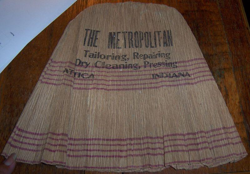 ADVERTISEMENT - Vintage Paper Hat with Advertising for Metropolitan Tailoring, Repairing, Dry Cleaning, Pressing, Attica, Indiana