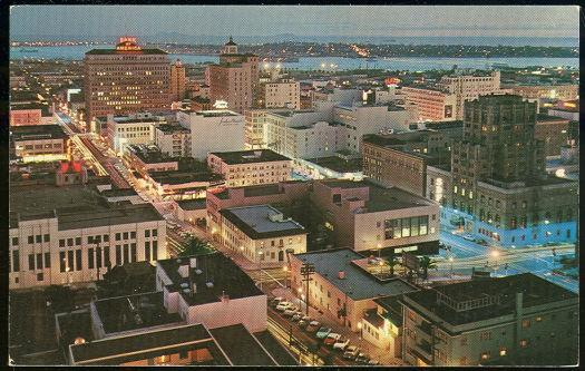DOWNTOWN SAN DIEGO, CALIFORNIA AT NIGHT, Postcard