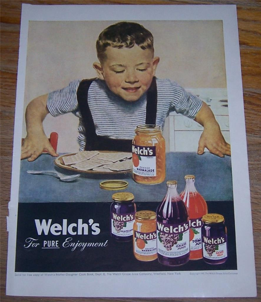 1947 WELCH'S LIFE MAGAZINE COLOR ADVERTISEMENT, Advertisement