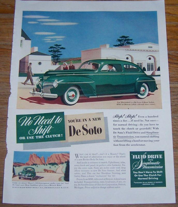 1941 NEW DE SOTO CAR MAGAZINE ADVERTISEMENT, Advertisement