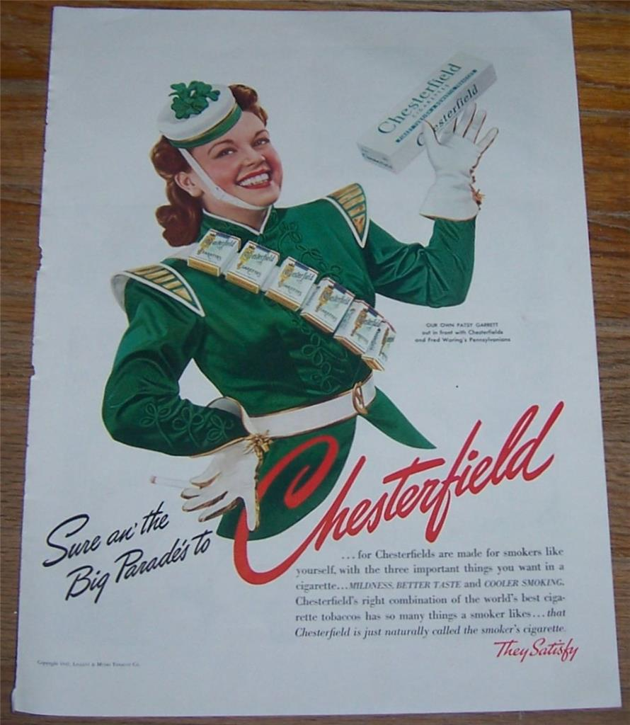 1941 CHESTERFIELD CIGARETTE MAGAZINE COLOR ADVERTISMENT WITH PATSY GARRETT, Advertisement