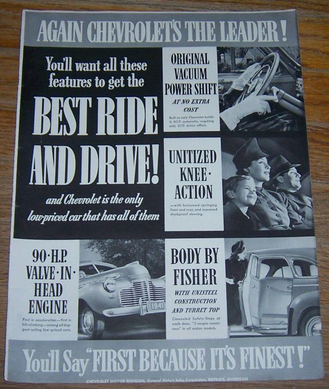 1941 CHEVROLET'S THE LEADER LIFE MAGAZINE ADVERTISEMENT, Advertisement