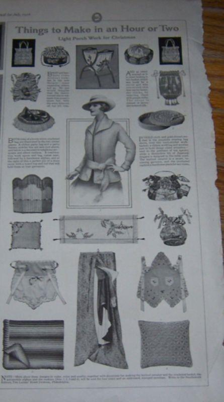 1916 LADIES HOME JOURNAL PAGE FOR THINGS TO MAKE IN A HOUR OR TWO, Advertisement