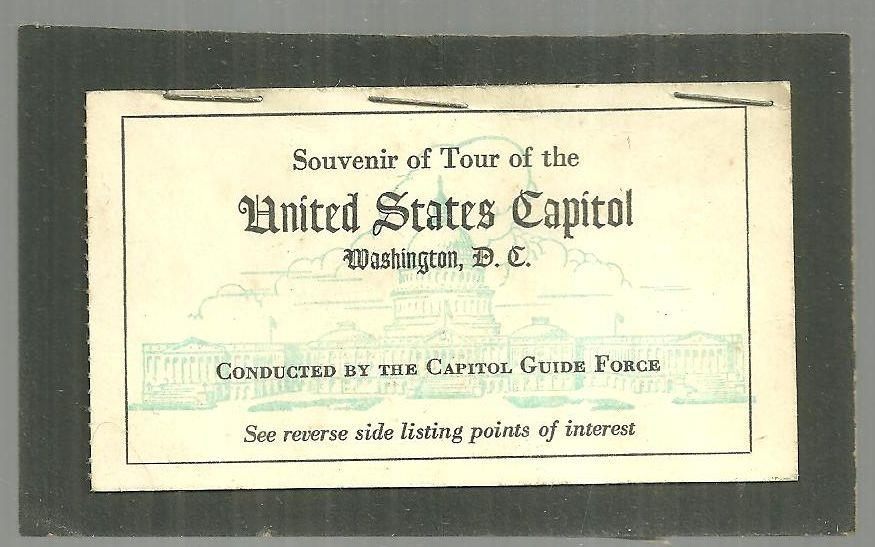SOUVENIR OF TOUR OF THE UNITED STATES CAPITOL, WASHINGTON, D. C., Souvenir