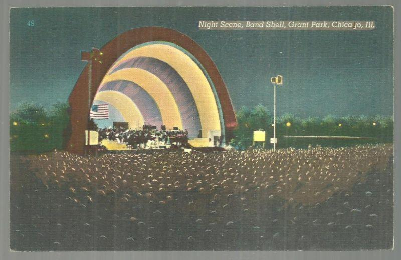 NIGHT SCENE, BAND SHELL, GRANT PARK, CHICAGO, ILLINOIS, Postcard
