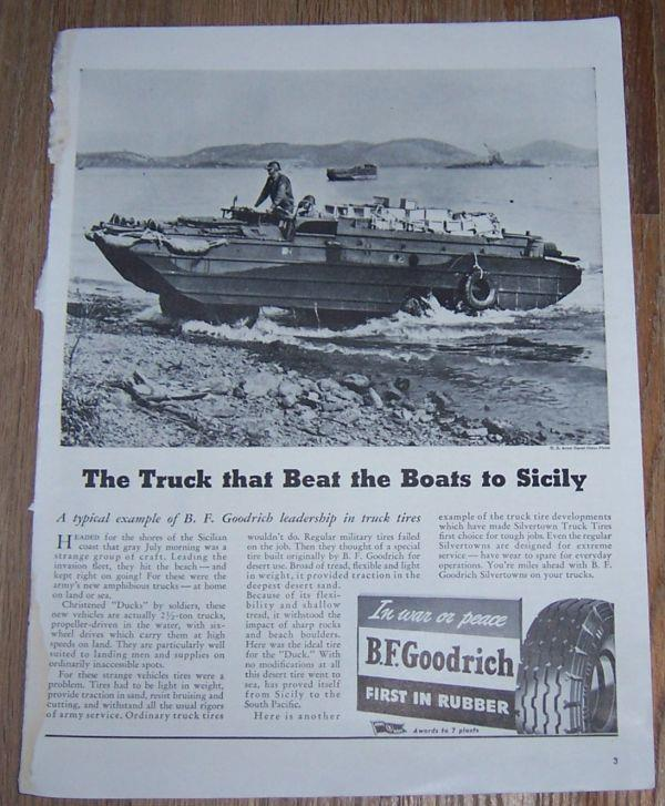1943 WORLD WAR II B. F. GOODRICH TRUCK TIRES MAGAZINE ADVERTISEMENT, Advertisement