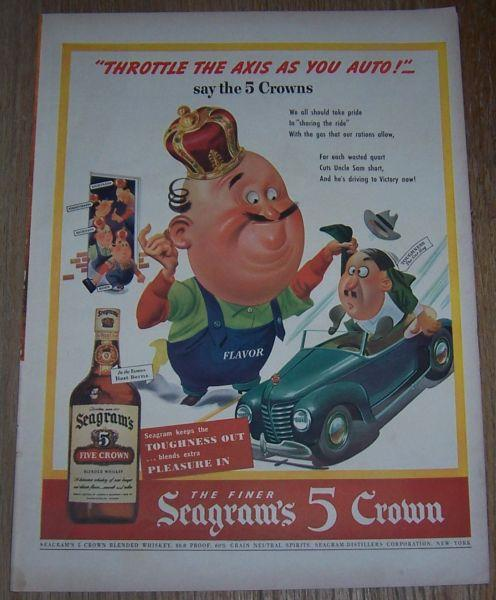 Image for 1943 SEAGRAMS 5 CROWN WHISKEY LIFE MAGAZINE ADVERTISEMENT