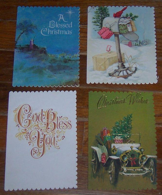 SET OF FOUR VINTAGE CHRISTMAS CARDS, Christmas