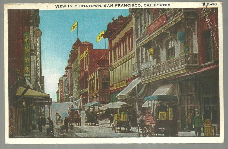 VIEW IN CHINATOWN, SAN FRANCISCO, CALIFORNIA, Postcard