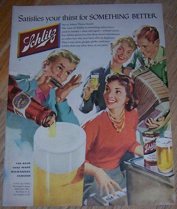 Image for 1956 SCHLITZ BEER MAGAZINE ADVERTISEMENT