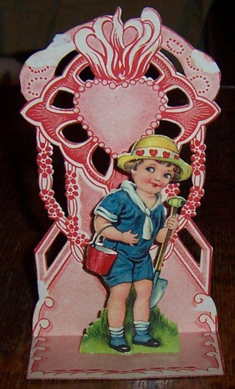 VICTORIAN FOLD OUT VALENTINE WITH LITTLE BOY WITH SHOVEL AND PAIL, Valentine