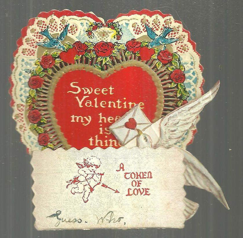 VICTORIAN FOLD OUT VALENTINE WITH DOVE AND HONEYCOMB, Valentine