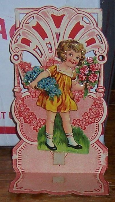 VICTORIAN FOLD OUT VALENTINE WITH LITTLE GIRL HOLDING FLOWERS, Valentine