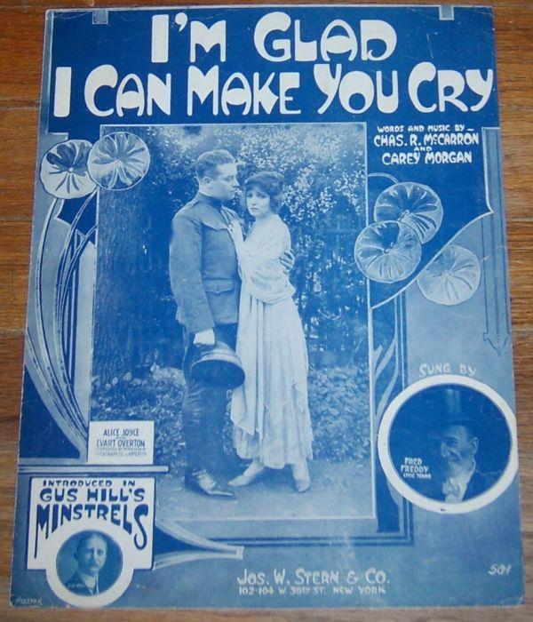I'M GLAD I CAN YOU MAKE YOU CRY, Sheet Music
