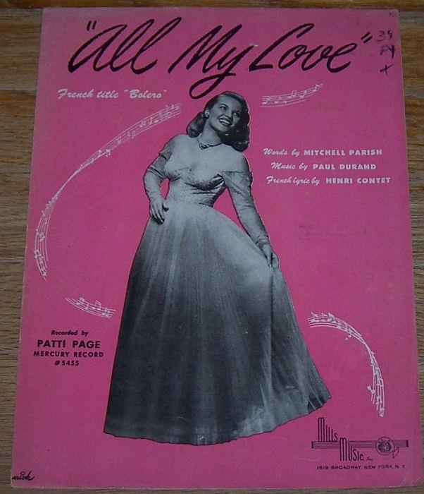 ALL MY LOVE, Sheet Music