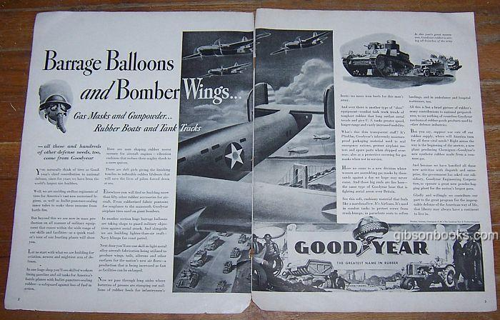 1941 WORLD WAR II GOODYEAR DOUBLE PAGE ADVERTISEMENT, Advertisement