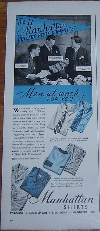 Image for 1941 MANHATTAN SHIRTS MAGAZINE ADVERTISEMENT