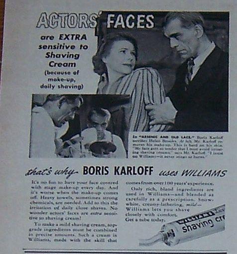 Image for 1941 WILLIAMS SHAVING CREAM MAGAZINE ADVERTISEMENT WITH BORIS KARLOFF
