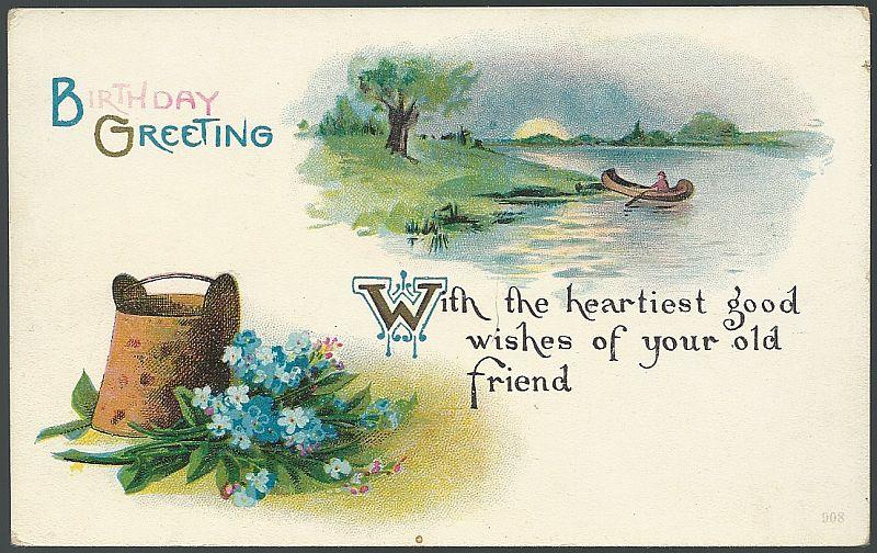 BIRTHDAY GREETINGS POSTCARD WITH CANOE AND FLOWERS, Postcard