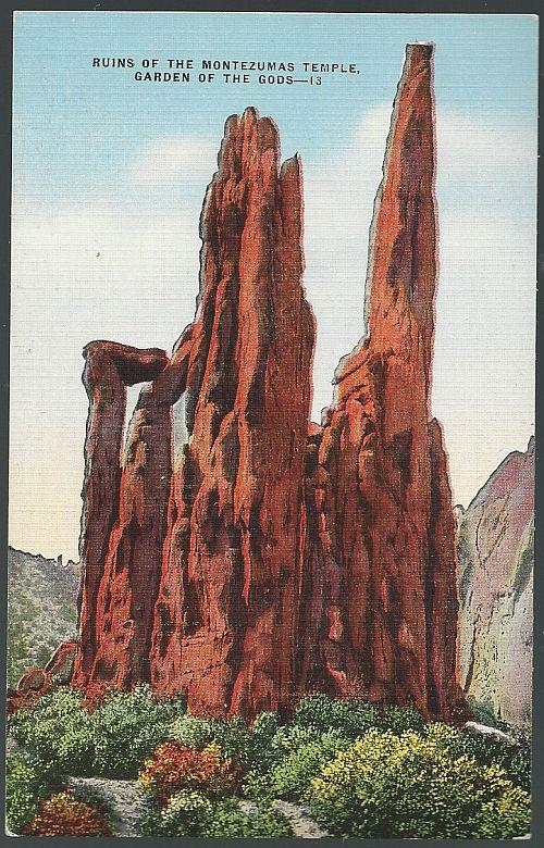 RUINS OF THE MONTEZUMA TEMPLE, GARDEN OF THE GODS, COLORADO, Postcard