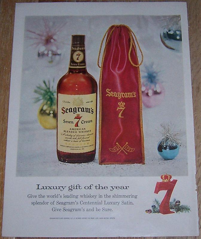 1957 SEAGRAM'S SEVEN CROWN WHISKEY LIFE MAGAZINE COLOR CHRISTMAS ADVERTISEMENT, Advertisement