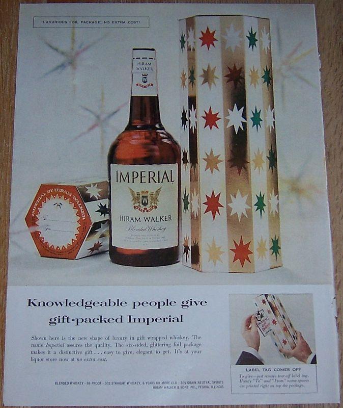 1957 HIRAM WALKER IMPERIAL WHISKEY LIFE MAGAZINE COLOR CHRISTMAS ADVERTISEMENT, Advertisement