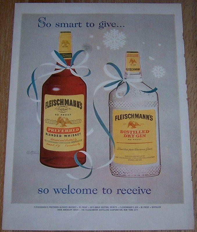 1957 FLEISCHMANN'S BLENDED WHISKEY AND GIN LIFE MAGAZINE COLOR CHRISTMAS ADVERTISEMENT, Advertisement