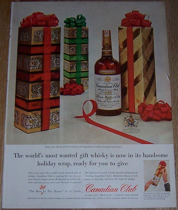 1957 CANADIAN CLUB WHISKY LIFE MAGAZINE COLOR CHRISTMAS ADVERTISEMENT, Advertisement