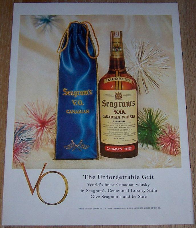 1957 SEAGRAM'S VO CANADIAN WHISKY LIFE MAGAZINE COLOR CHRISTMAS ADVERTISEMENT, Advertisement