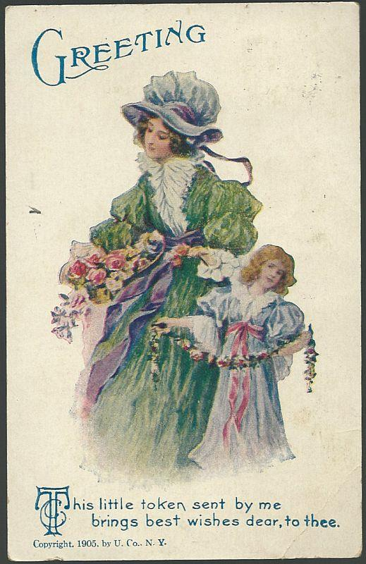 POSTCARD WITH LOVELY LADY AND CHILD WITH FLOWERS, Postcard