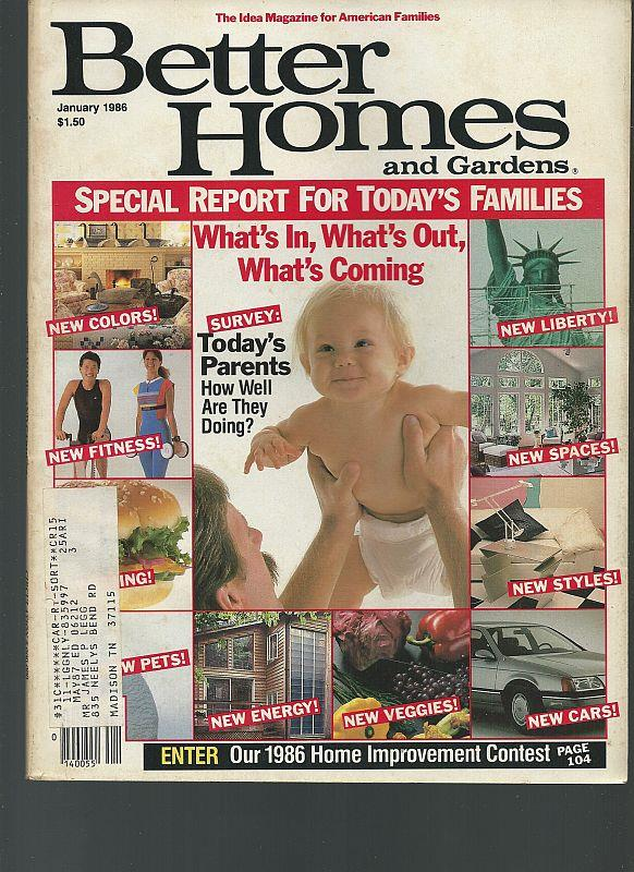 BETTER HOMES AND GARDENS MAGAZINE JANUARY 1986, Better Homes and Gardens