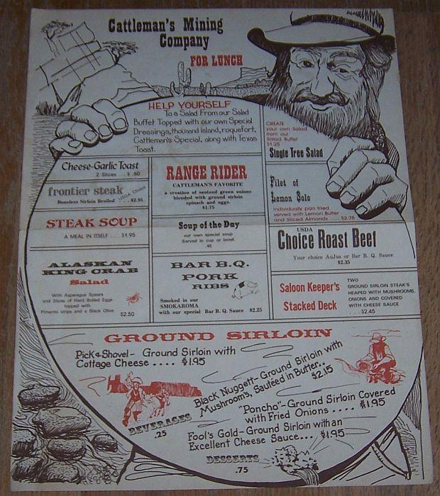 VINTAGE LUNCH MENU FOR CATTLEMAN'S MINING COMPANY, KEARNEY, NEBRASKA, Menu