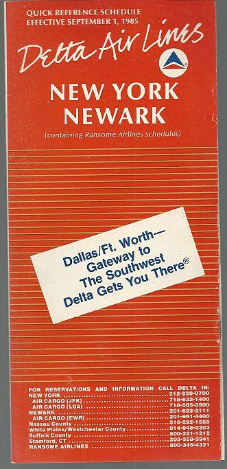 Image for DELTA QUICK REFERENCE SCHEDULE FOR NEW YORK/NEWARK, EFFECTIVE SEPTEMBER 1, 1985