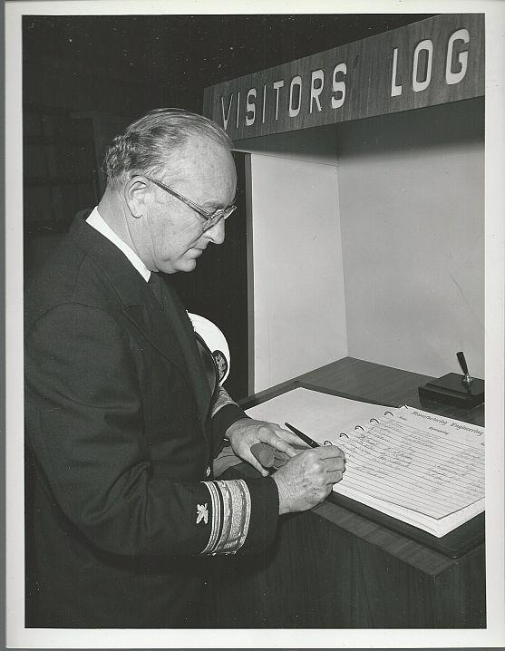 ORIGINAL PHOTOGRAPH OF REAR ADMIRAL H. C. HAYNSWORTH VISIT TO MARSHALL SPACE FLIGHT CENTER IN 1962, Photograph