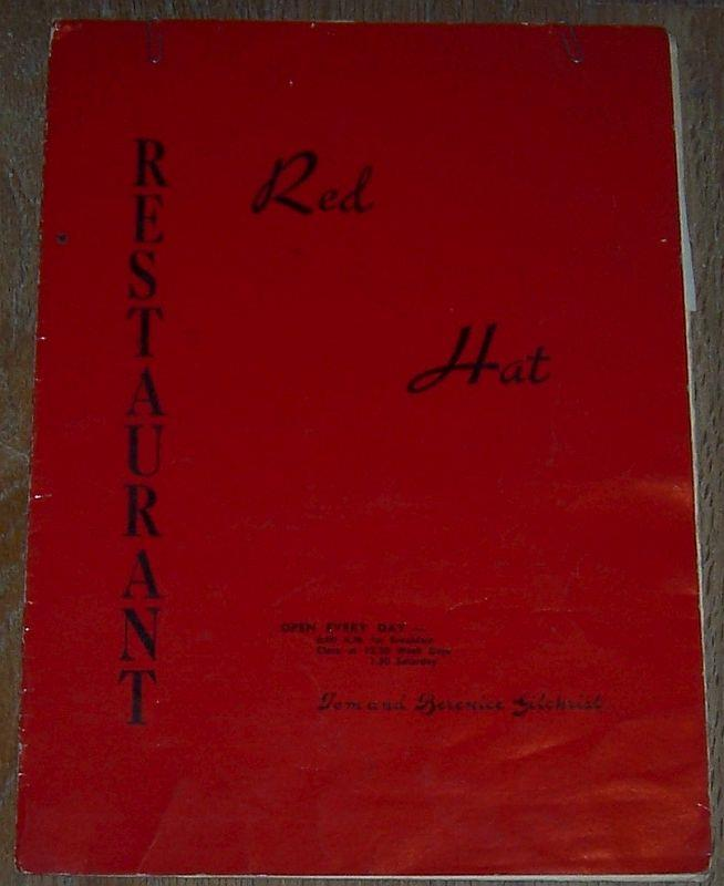MENU FOR RED HAT RESTAURANT, TOM AND BERNICE GILCHRIST, Menu
