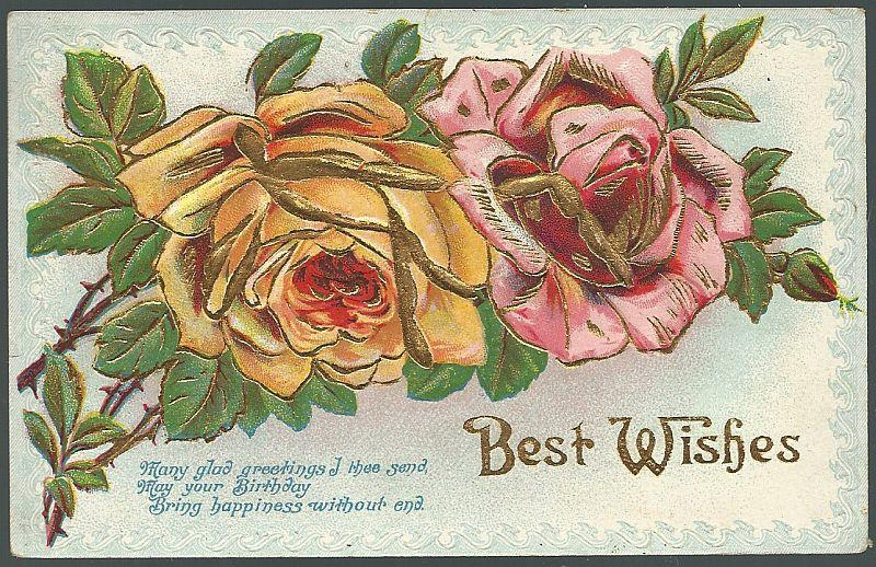 BEST WISHES BIRTHDAY POSTCARD WITH ROSES OUTLINED IN GOLD, Postcard