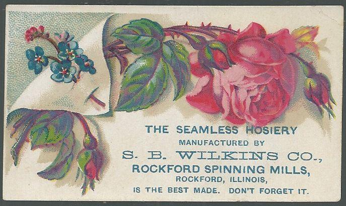 VICTORIAN TRADE CARD FOR S. B. WILKINS CO. WITH PINK ROSE, Advertisement