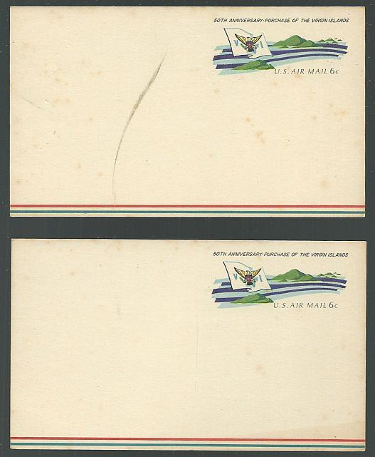 Image for LOT OF TWO 50TH ANNIVERSARY PURCHASE OF THE VIRGIN ISLANDS AIR MAIL POSTCARDS