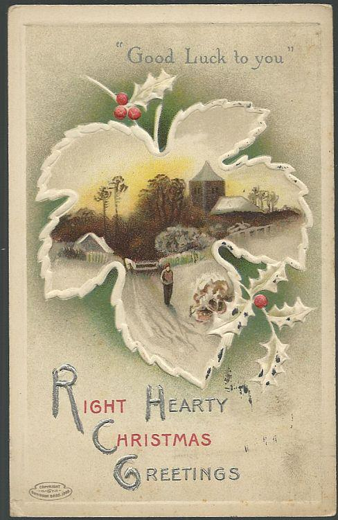 RIGHT HEARTY CHRISTMAS GREETINGS POSTCARD WITH LEAF AND SNOWY LANDSCAPE, Postcard